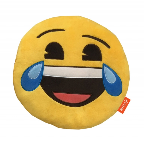 Emoji Emoticons 'Happy Tears' Round Plush Embroidered Cushion