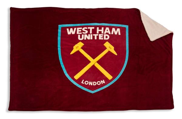 West Ham United Sherpa Claret Full Fc Football Panel Official Fleece Blanket Throw