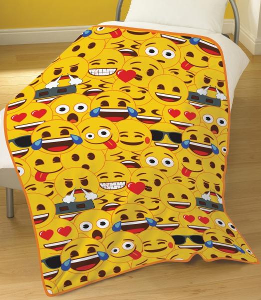 Emoji 'Multi' Yellow Face Rotary Fleece Blanket Throw