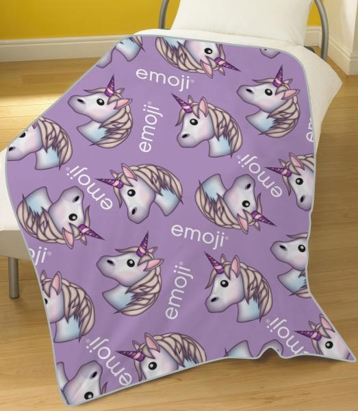 Emoji 'Unicorn' Rotary Fleece Blanket Throw