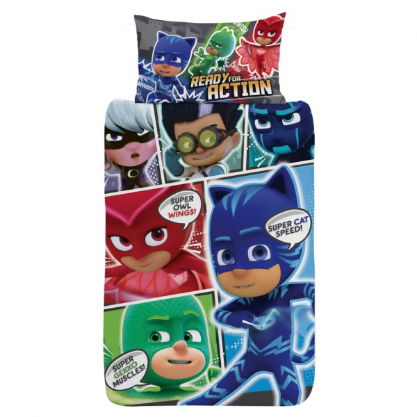 Disney Pj Masks 'Comic' Reversible Panel Single Bed Duvet Quilt Cover Set