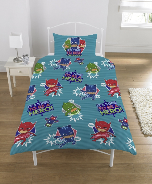 Disney Pj Masks 'It' S Time To Be a Hero' Reversible Rotary Single Bed Duvet Quilt Cover Set