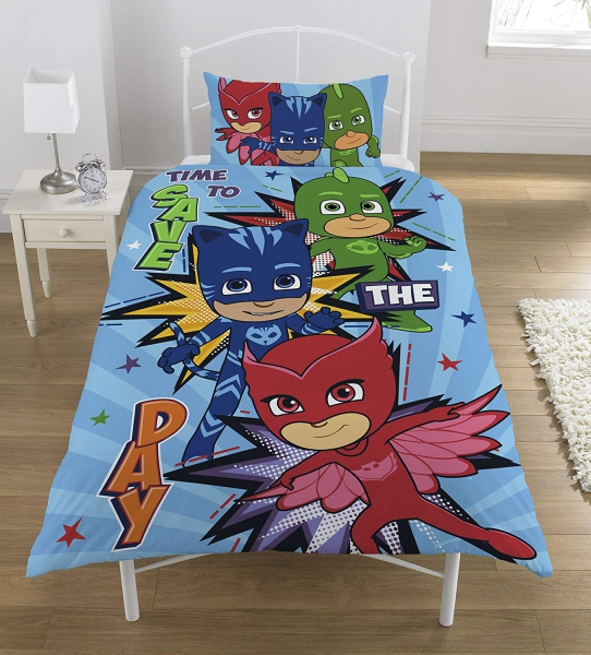 Pj Masks Reversible Panel Single Bed Duvet Quilt Cover Set