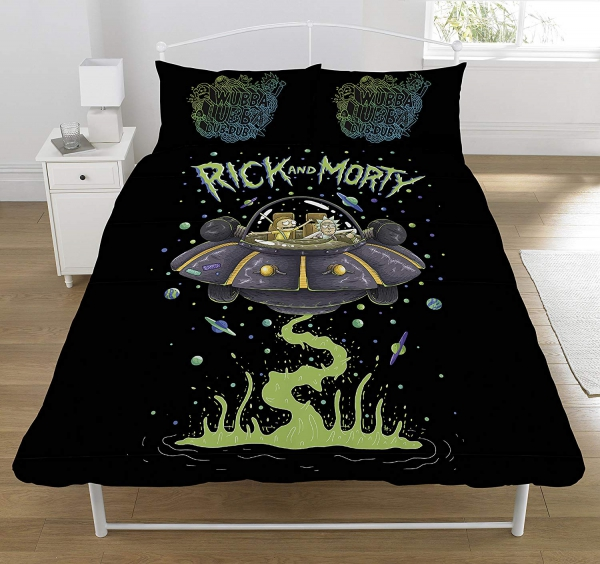 Rick and Morty Ufo/spaceship Panel Double Bed Duvet Quilt Cover Set
