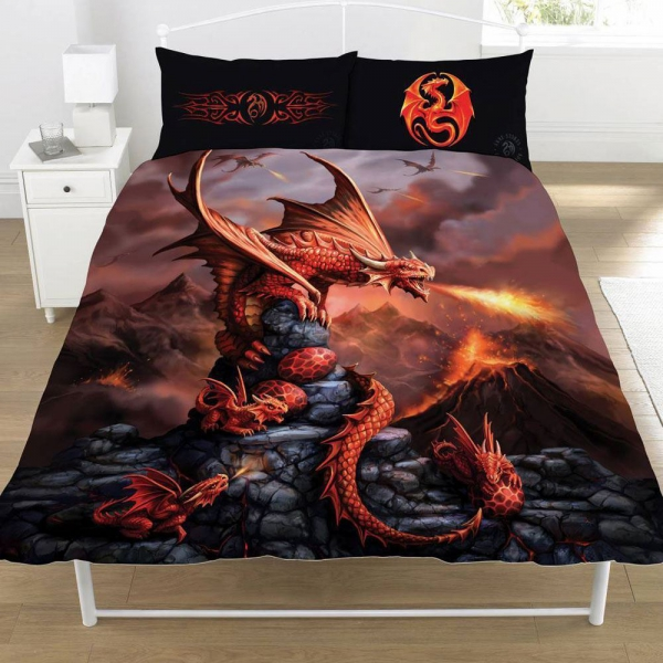 Anne Stokes Fire Dragon Panel Double Bed Duvet Quilt Cover Set