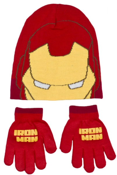 Avengers Boys 'Iron Man' 2 Piece Winter Set Hat & Glove One Size Kids Accessories