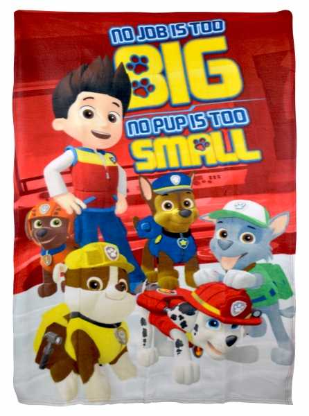 Paw Patrol 'No Pup Is Too Small' Boys Panel Fleece Blanket Throw