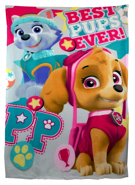 Paw Patrol 'Best Pups Ever' Girls Panel Fleece Blanket Throw