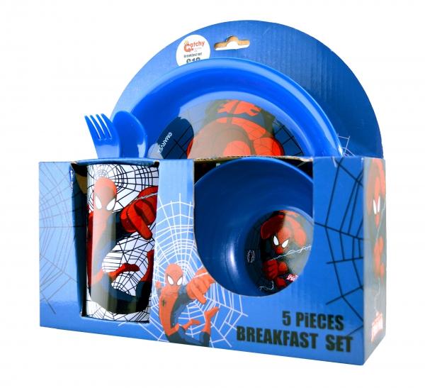 Spiderman 'Strike' 5 Piece Breakfast Dinner Set