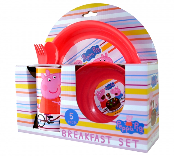 Peppa Pig 'Bicycle' 5 Piece Breakfast Dinner Set