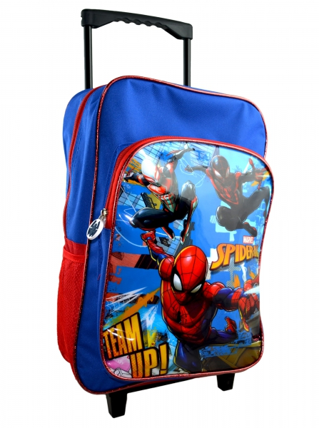 Spiderman 'Team Up' Trolley Backpack School Travel Roller Wheeled Bag