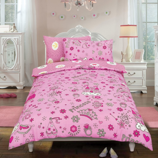 Princess 'Crown' Pink Reversible Rotary Double Bed Duvet Quilt Cover Set