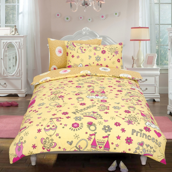 Princess 'Crown' Cream Reversible Rotary Double Bed Duvet Quilt Cover Set