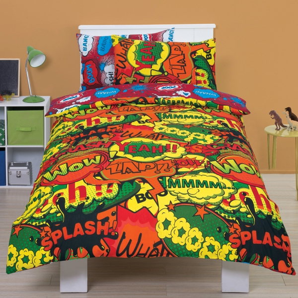 Comic 'Bang' Red Reversible Rotary Single Bed Duvet Quilt Cover Set
