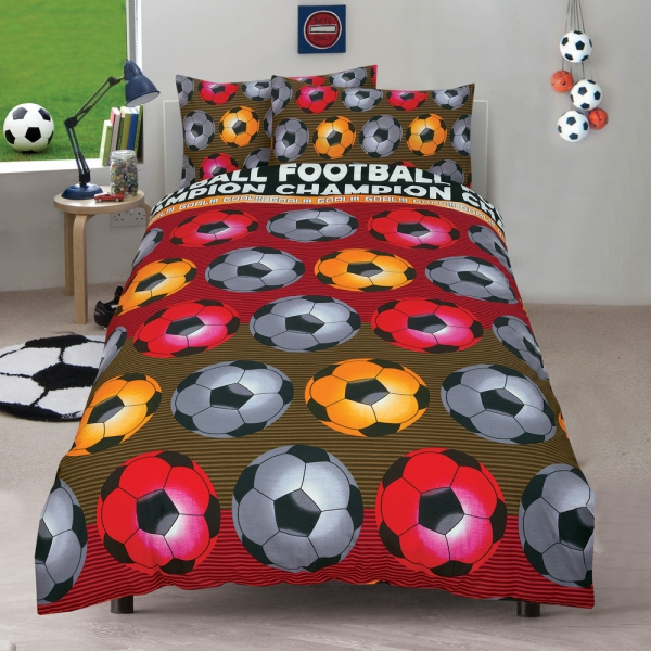 Football 'Champion' Red Reversible Fc Rotary Single Bed Duvet Quilt Cover Set