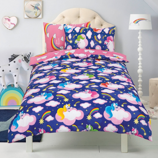 Unicorn 'Believe In Your Dreams' Purple Reversible Rotary Single Bed Duvet Quilt Cover Set