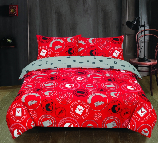 Todd Linens London to Paris Post 'Royal Red' single double king duvet cover set