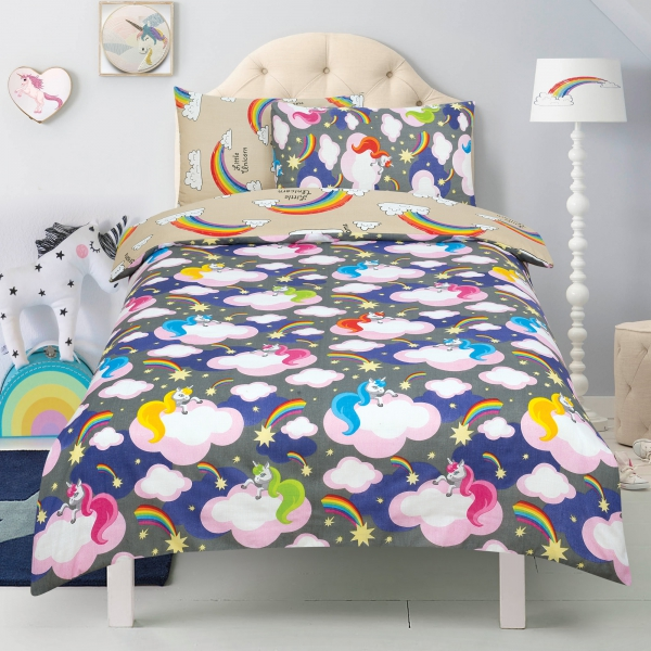 Unicorn 'Believe In Your Dreams' Charcoal Reversible Rotary Single Bed Duvet Quilt Cover Set