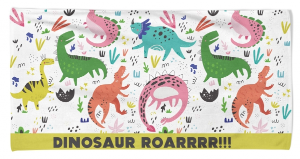 Kid's Beach Towel Dino Roar Printed