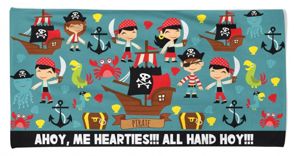 Kid's Beach Towel Pirates Ahoy Printed