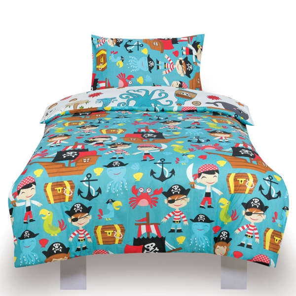 Pirates Ahoy Kids Two Sided Design Reversible Rotary Double Bed Duvet Quilt Cover Set