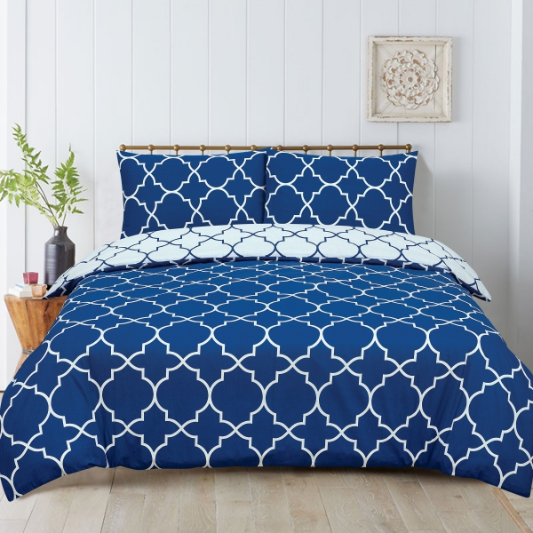 Morrocan Blue Reversible Rotary King Bed Duvet Quilt Cover Set