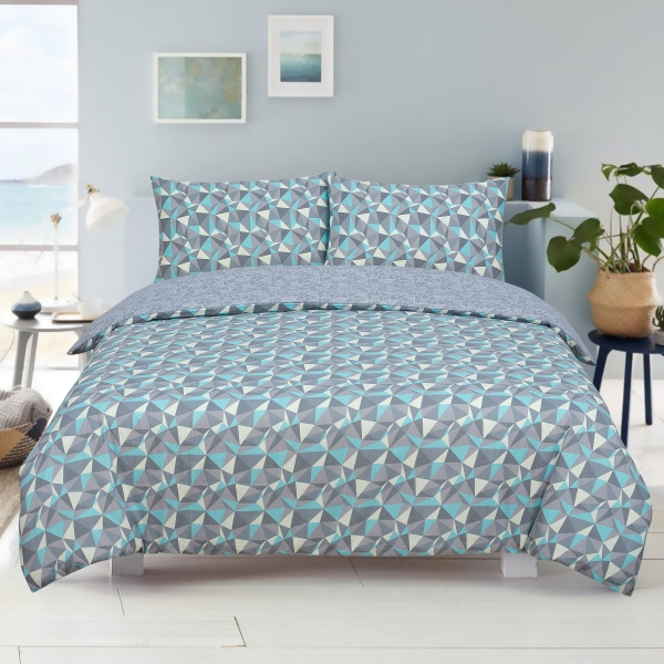 Geometric Shapes Reversible Rotary Single Bed Duvet Quilt Cover Set