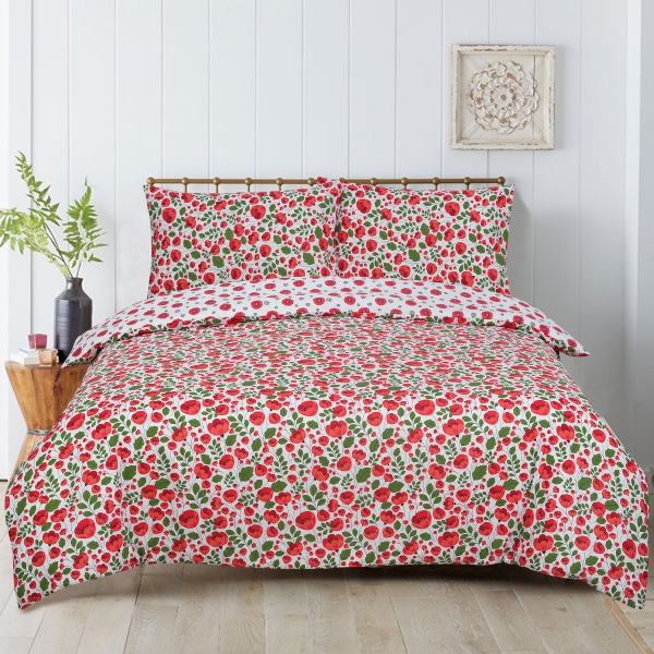 Floral Poppy Reversible Rotary Single Bed Duvet Quilt Cover Set