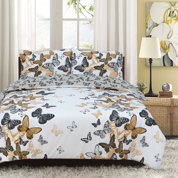 Butterfly Kids Reversible Rotary Double Bed Duvet Quilt Cover Set