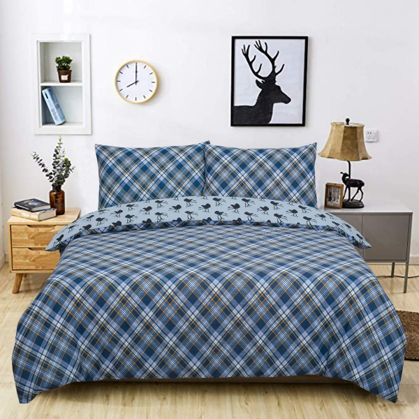 Tartan Stag Reversible Rotary King Bed Duvet Quilt Cover Set