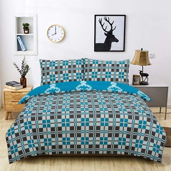 Knitted Pattern Reversible Rotary Single Bed Duvet Quilt Cover Set