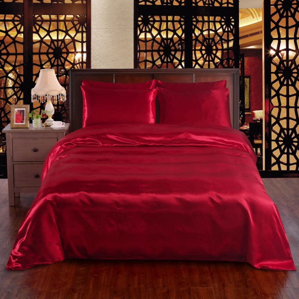 Red 6pc Satin Panel Double Bed Duvet Quilt Cover Set