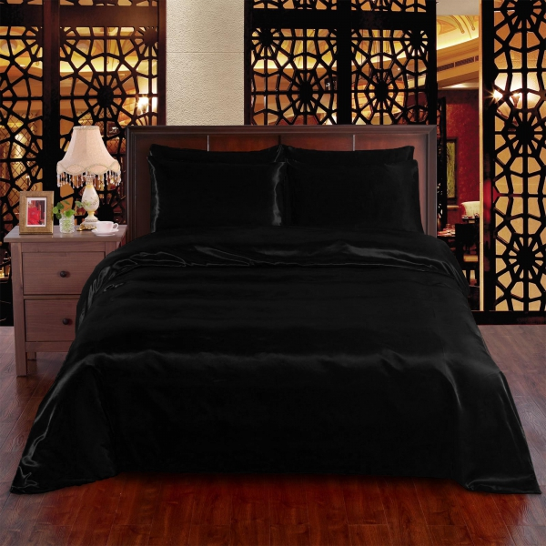 Black 6pc Satin Panel Super King Bed Duvet Quilt Cover Set