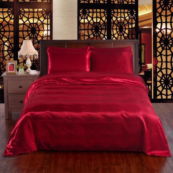 Red 6pc Satin Panel Super King Bed Duvet Quilt Cover Set