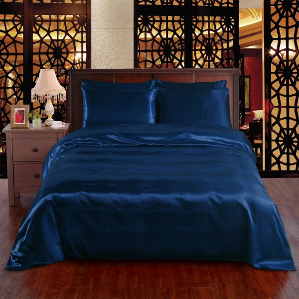 Navy Blue 6pc Satin Panel Super King Bed Duvet Quilt Cover Set