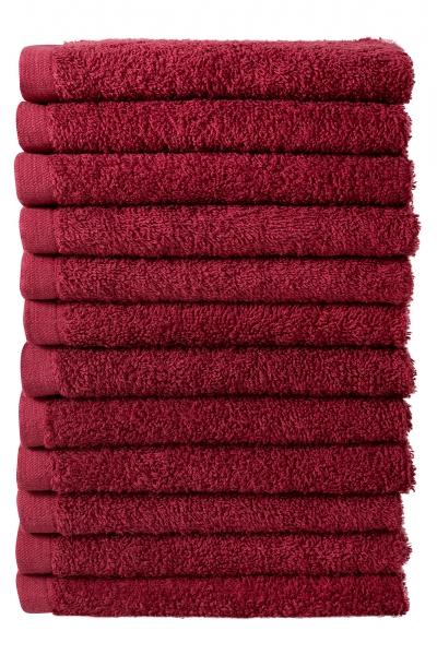 Bale Set 12pcs Burgundy No Border Plain Face Towel