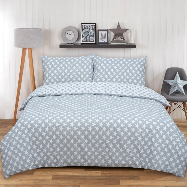 Stars Grey Reversible Rotary King Bed Duvet Quilt Cover Set