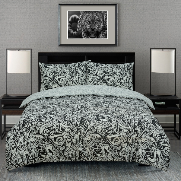 Marble Black Reversible Rotary King Bed Duvet Quilt Cover Set