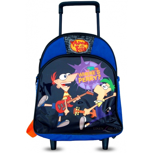 Phineas and Ferb School Travel Trolley Roller Wheeled Bag