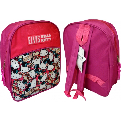 Hello Kitty Elvis Pink Pvc Front School Bag Rucksack Backpack