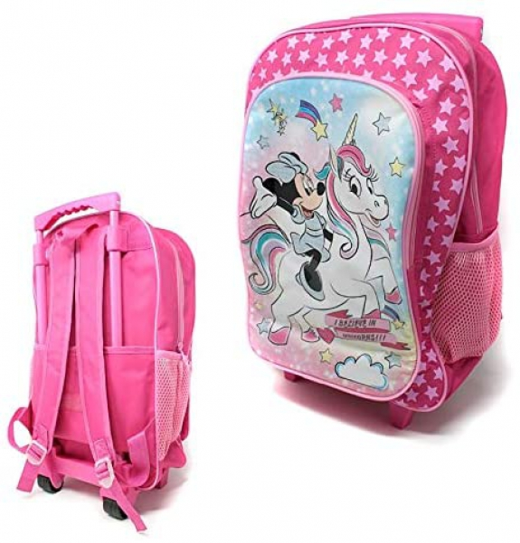 Minnie Mouse I Beleive In Unicorn Luggage Deluxe School Travel Trolley Roller Wheeled Bag