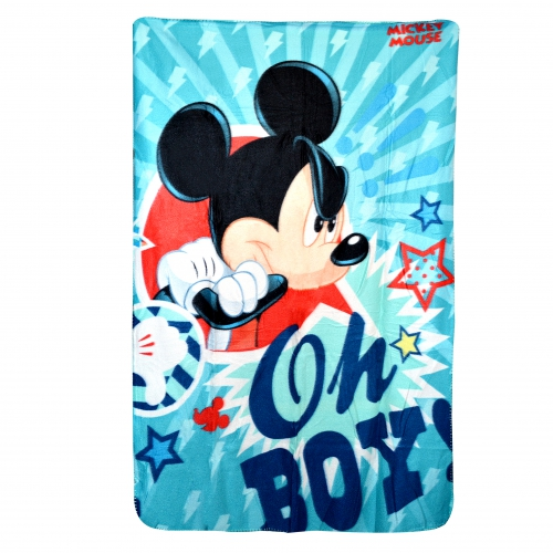 Disney Mickey Mouse 'Oh Boy' Panel Fleece Blanket Throw
