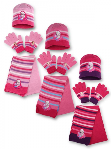 Disney Frozen Knitted 3 Assorted Hat, Gloves and Scarf Set Kids Accessories