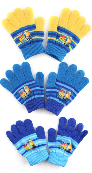 Despicable Me 'Minions' Knitted 3 Assorted Gloves One Size Kids Accessories