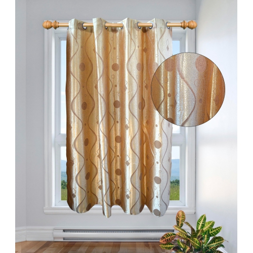 Non Brand Style Grey Gold Color Curtain 54inch Pair