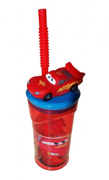 Disney Cars Lightning Mcqueen Figurine '3d Model' Bottle with Straw