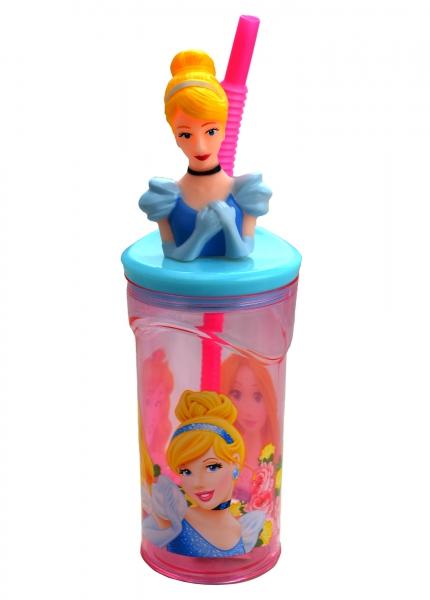 Disney Princess Cinderella Figurine '3d Head' Bottle with Straw
