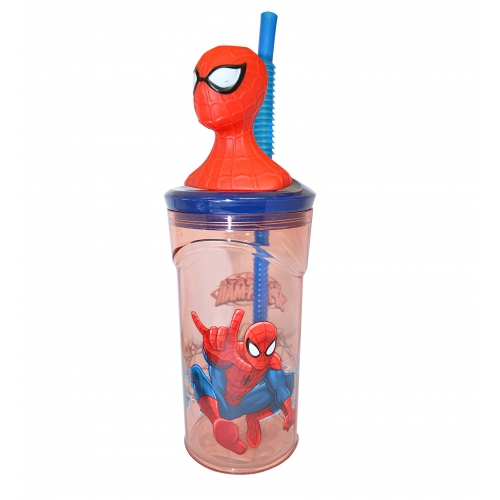 Spiderman '3d Head' Bottle with Straw