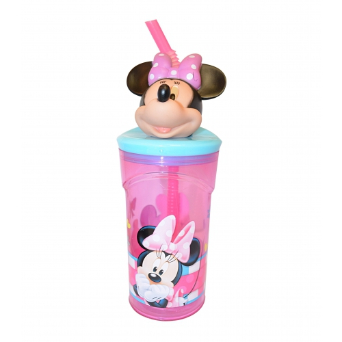 Disney Minnie Mouse '3d Head' Bottle with Straw