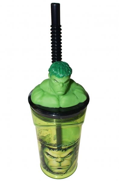 Superhero Hulk Figurine '3d Head' Bottle with Straw